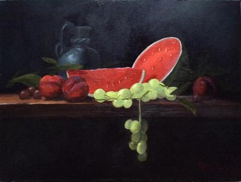 "Watermelon and Pears from the Daniel Edmondson Still Life Course, 9"" x 12"", oil on canvas board"