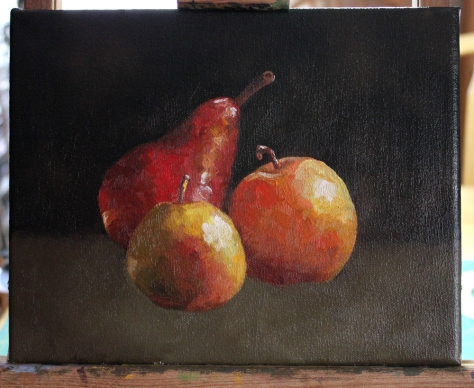 Pears, WIP by Donna Duquette
