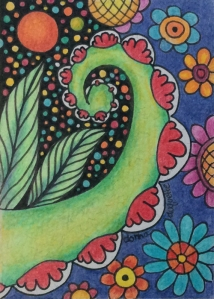 Floral Doodle ATC, colored pencil and ink on matboard